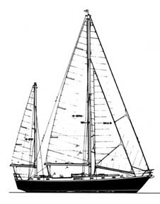 44-foot ketch with small mizzen drawing