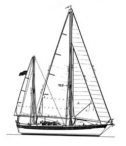double-headsail ketch with bowsprit drawing