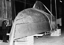 Hull covered with steel plates