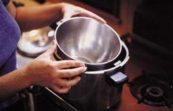 A stainless steel bowl as a heatproof dish