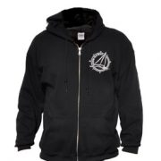 Black zip-front hooded sweatshirt