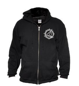 Black zip-front hooded sweatshirt
