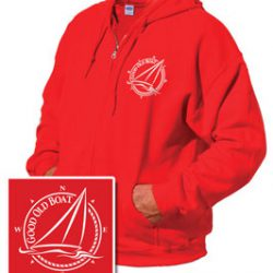 Red zip-front hooded sweatshirt