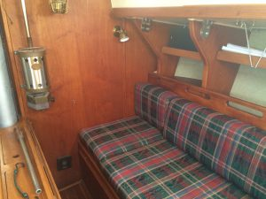 Settee of a Morgan 32 sailboat