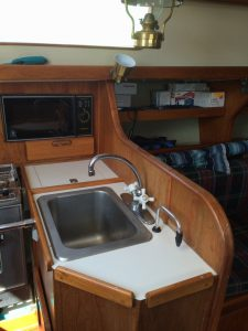 Galley of Morgan 32 sailboat