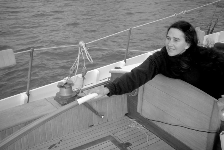 steering long tiller from below deck