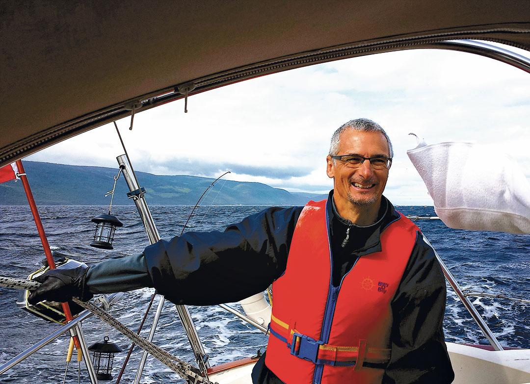 Benoit Fleury on sailboat