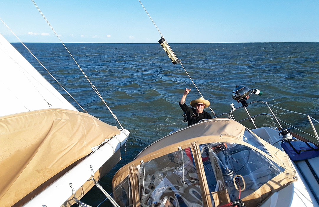 Sailboat heeling on Lake Huron