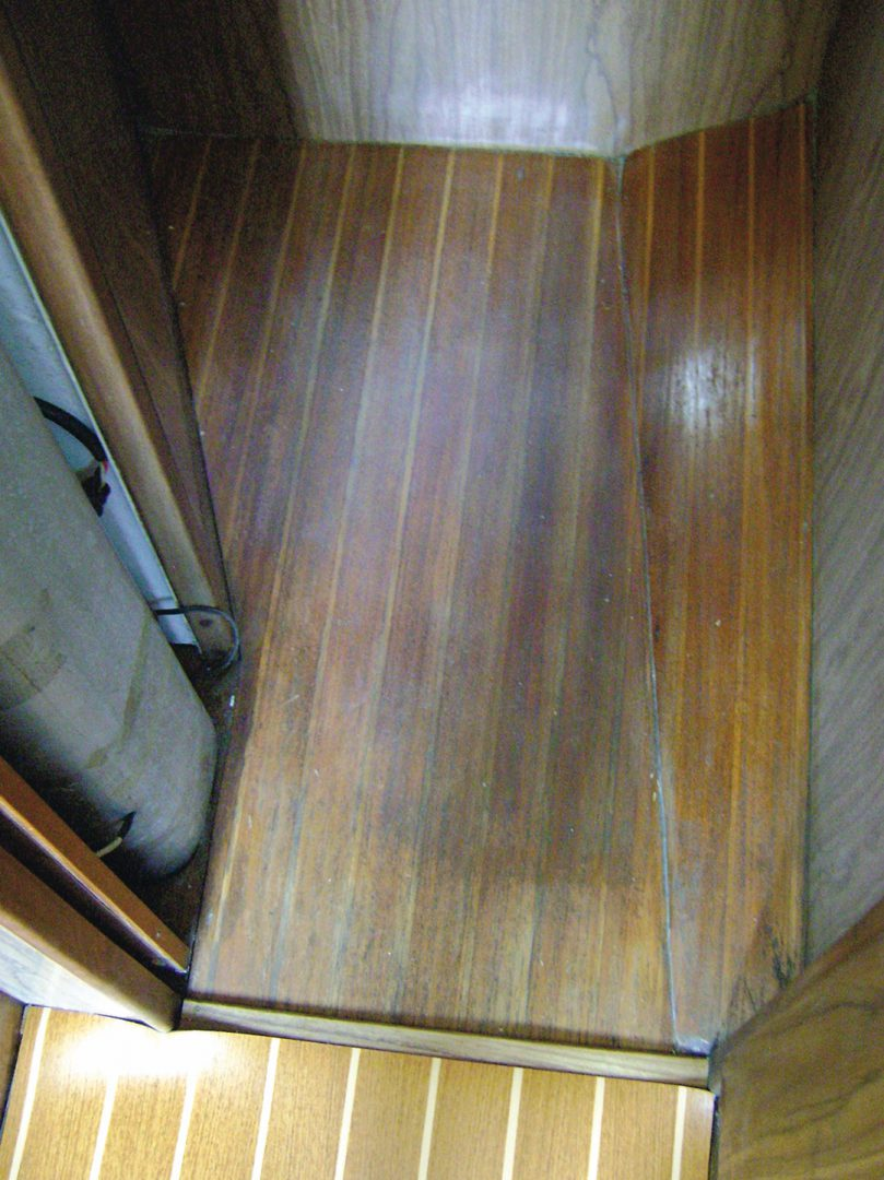 Old teak and holly sole next to new vinyl flooring
