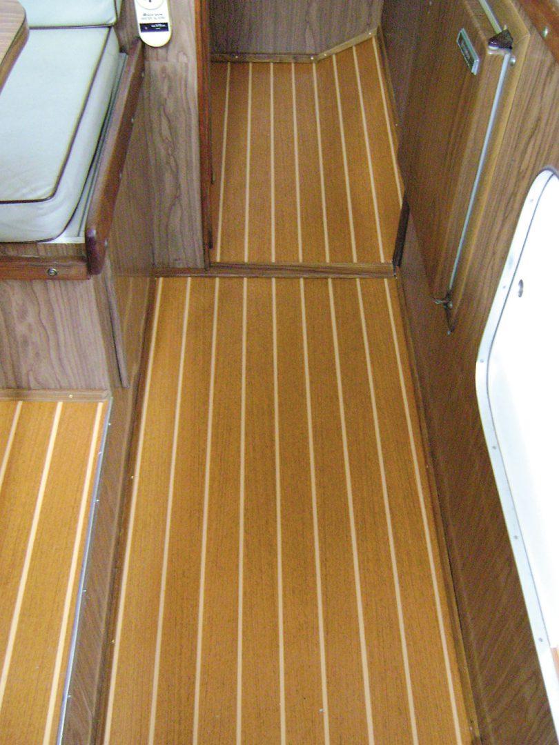 Vinyl floor installed sailboat interior