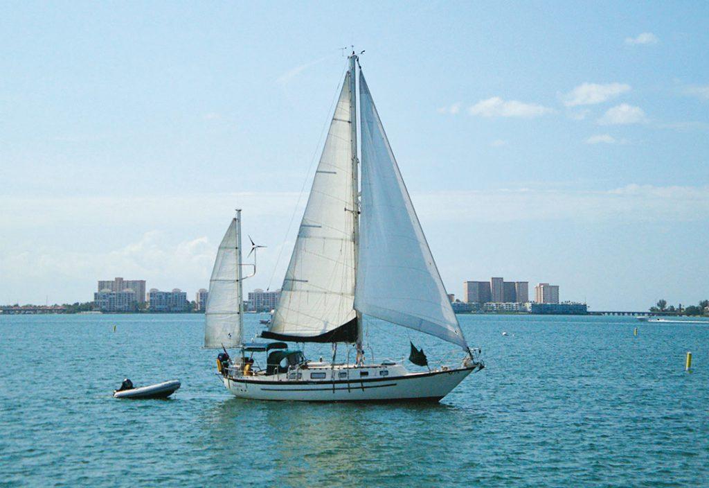 Crealock 37 yawl sailboat underway