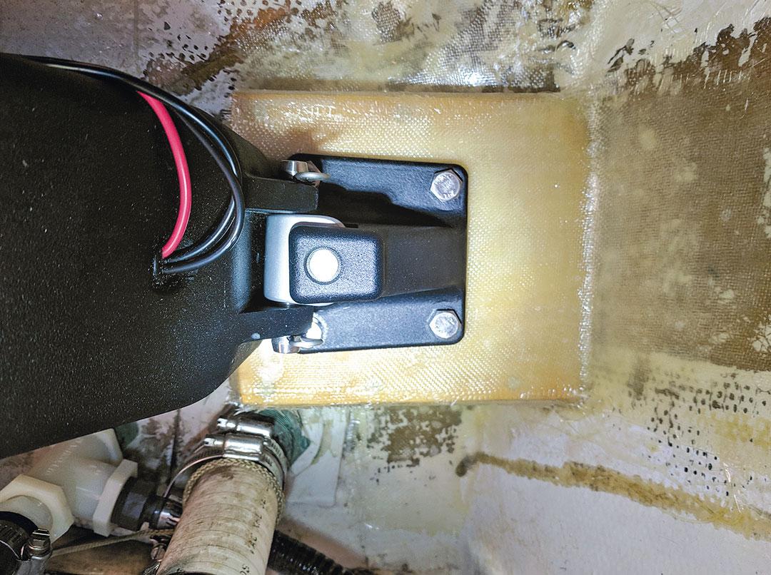 fiberglassed mount bonded to hull