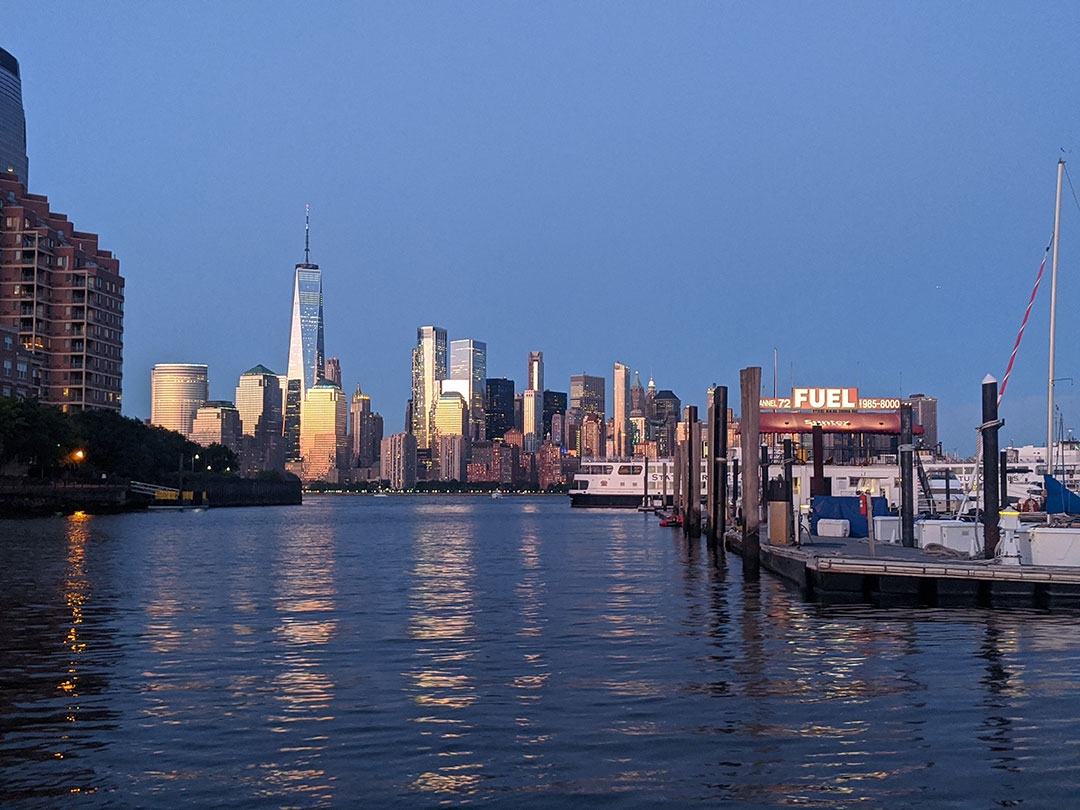 View of NYC skyline from Liberty Landing Marina