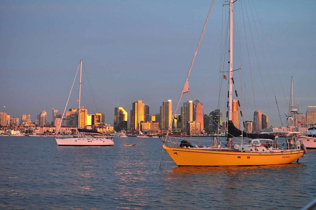 sailboats on mooring balls in San Diego