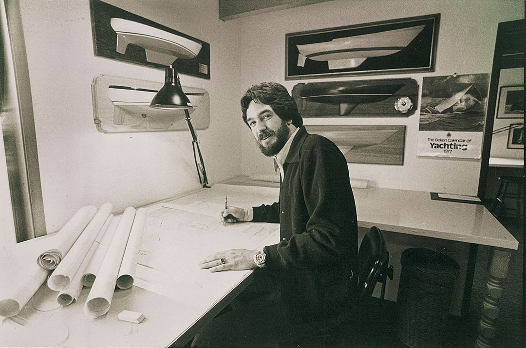 Bob Perry sailboats designer at his drafting table