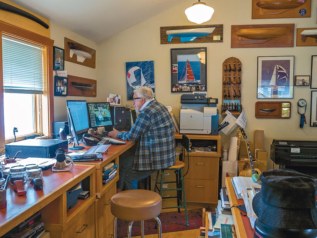 Bob Perry boats designer at computer