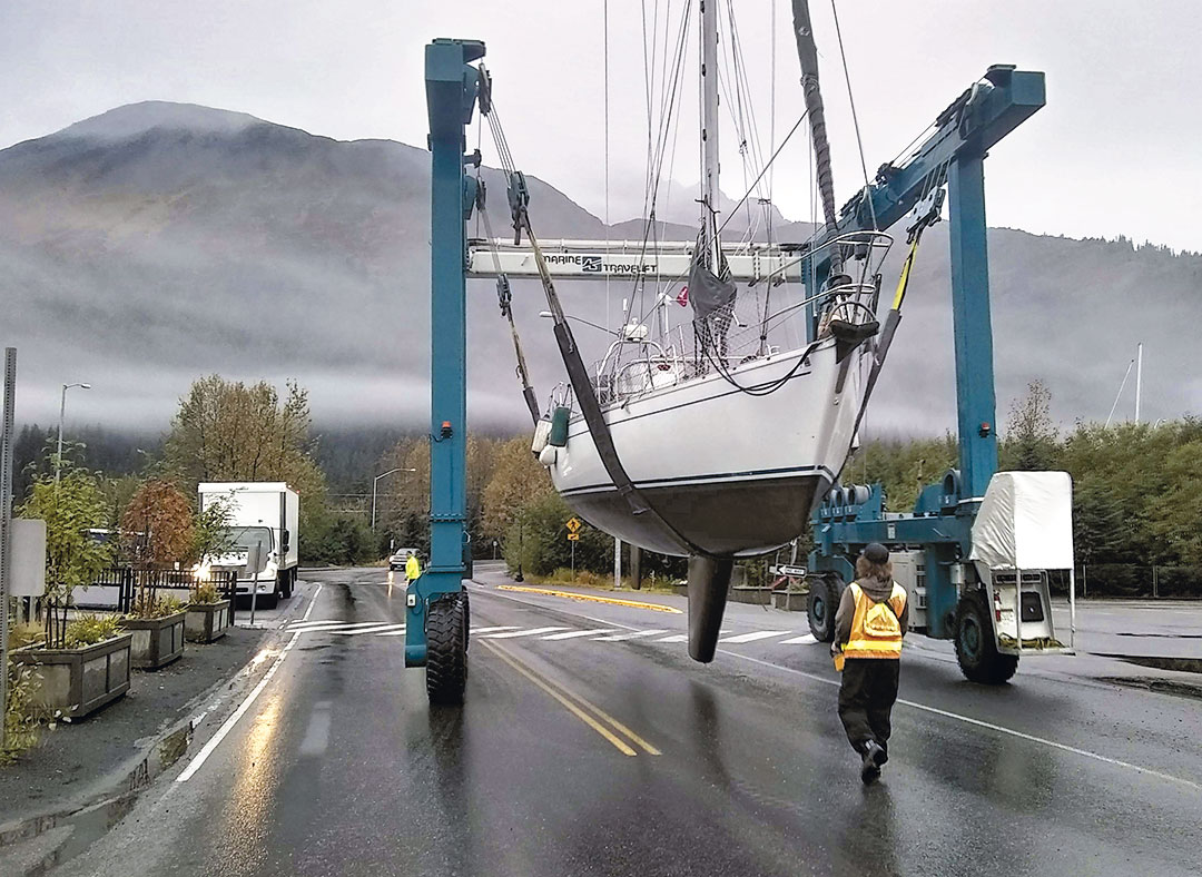 A sailboat preps for an engine repower in Alaska