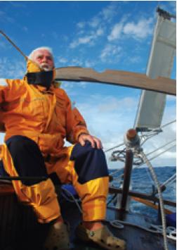 Larry Pardey in foul weather gear
