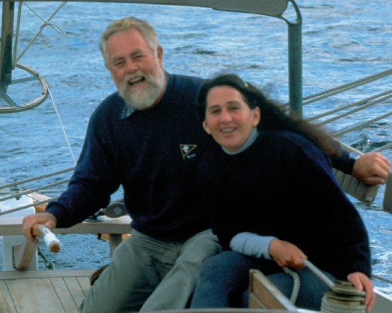 Larry and Lin Pardey in cockpit